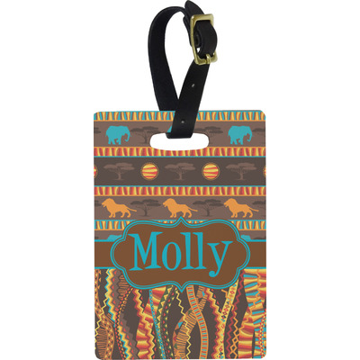 African Lions & Elephants Rectangular Luggage Tag (Personalized)