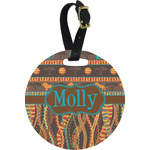 African Lions & Elephants Round Luggage Tag (Personalized)
