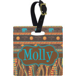 African Lions & Elephants Square Luggage Tag (Personalized)