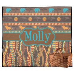 African Lions & Elephants Outdoor Picnic Blanket (Personalized)