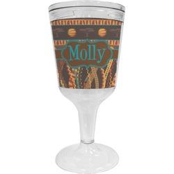 African Lions & Elephants Wine Tumbler - 11 oz Plastic (Personalized)