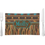 African Lions & Elephants Glass Rectangular Lunch / Dinner Plate - Single or Set (Personalized)