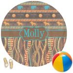 African Lions & Elephants Round Beach Towel (Personalized)