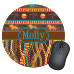 African Lions & Elephants Round Mouse Pad (Personalized)