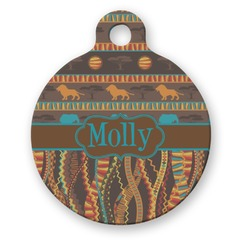 African Lions & Elephants Round Pet ID Tag (Personalized)