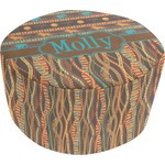 African Lions & Elephants Round Pouf Ottoman (Personalized)