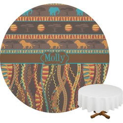 African Lions & Elephants Round Tablecloth (Personalized)