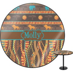 """African Lions & Elephants Round Table - 30"""" (Personalized)"""