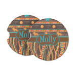 African Lions & Elephants Sandstone Car Coasters (Personalized)