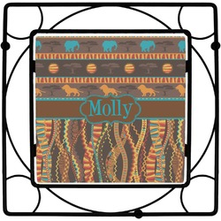 African Lions & Elephants Square Trivet (Personalized)