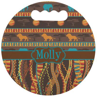 African Lions & Elephants Stadium Cushion (Round) (Personalized)