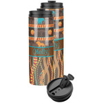 African Lions & Elephants Stainless Steel Skinny Tumbler (Personalized)