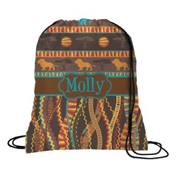 African Lions & Elephants Drawstring Backpack - Large (Personalized)