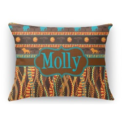 African Lions & Elephants Rectangular Throw Pillow (Personalized)