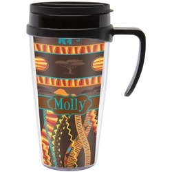 African Lions & Elephants Travel Mug with Handle (Personalized)