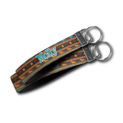 African Lions & Elephants Wristlet Webbing Keychain Fob (Personalized)