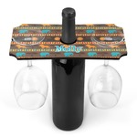 African Lions & Elephants Wine Bottle & Glass Holder (Personalized)