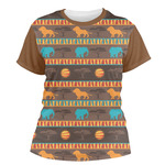 African Lions & Elephants Women's Crew T-Shirt (Personalized)