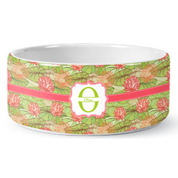 Lily Pads Ceramic Pet Bowl (Personalized)