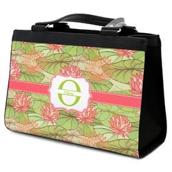 Lily Pads Classic Tote Purse w/ Leather Trim w/ Name and Initial