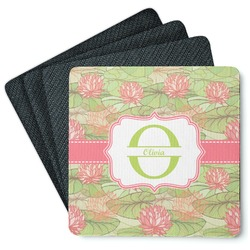 Lily Pads 4 Square Coasters - Rubber Backed (Personalized)