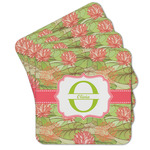 Lily Pads Cork Coaster - Set of 4 w/ Name and Initial