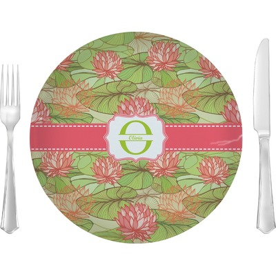 "Lily Pads 10"" Glass Lunch / Dinner Plates - Single or Set (Personalized)"
