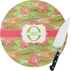 Lily Pads Round Glass Cutting Board (Personalized)