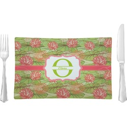 Lily Pads Glass Rectangular Lunch / Dinner Plate - Single or Set (Personalized)