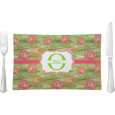 Lily Pads Rectangular Glass Lunch / Dinner Plate - Single or Set (Personalized)