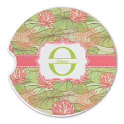 Lily Pads Sandstone Car Coasters (Personalized)