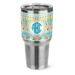 Abstract Teal Stripes Stainless Steel Tumbler - 30 oz (Personalized)