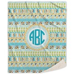 Abstract Teal Stripes Sherpa Throw Blanket (Personalized)