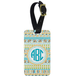Abstract Teal Stripes Aluminum Luggage Tag (Personalized)