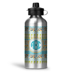 Abstract Teal Stripes Water Bottle - Aluminum - 20 oz (Personalized)