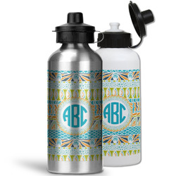 Abstract Teal Stripes Water Bottles- Aluminum (Personalized)
