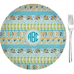 """Abstract Teal Stripes 8"""" Glass Appetizer / Dessert Plates - Single or Set (Personalized)"""
