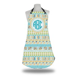 Abstract Teal Stripes Apron (Personalized)