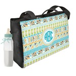 Abstract Teal Stripes Diaper Bag (Personalized)