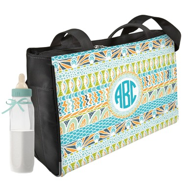 Abstract Teal Stripes Diaper Bag w/ Monogram