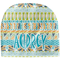 Abstract Teal Stripes Baby Hat (Beanie) (Personalized)