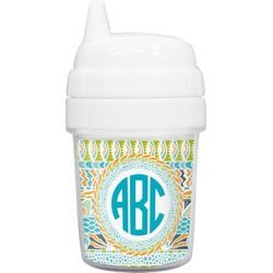 Abstract Teal Stripes Baby Sippy Cup (Personalized)