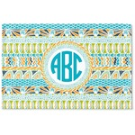 Abstract Teal Stripes Woven Mat (Personalized)
