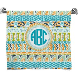 Abstract Teal Stripes Full Print Bath Towel (Personalized)