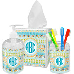 Abstract Teal Stripes Bathroom Accessories Set (Personalized)