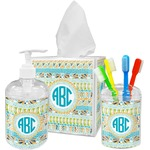 Abstract Teal Stripes Acrylic Bathroom Accessories Set w/ Monogram