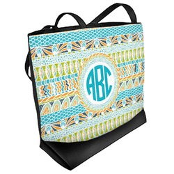 Abstract Teal Stripes Beach Tote Bag (Personalized)