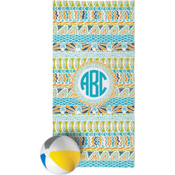 Abstract Teal Stripes Beach Towel (Personalized)