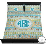 Abstract Teal Stripes Duvet Cover Set (Personalized)