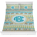 Abstract Teal Stripes Comforter Set (Personalized)